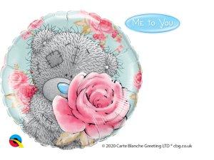 """18"""" foliový balónek kruh - Tatty TEDDY s růží"""