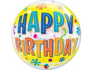 """22"""" bublina - Happy birthday žluté proužky"""