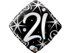 """18"""" balónek - Elegantní černé narozeniny 21"""