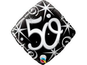 """18"""" balónek - Elegantní černé narozeniny 50"""