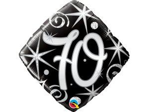 """18"""" balónek - Elegantní černé narozeniny 70"""