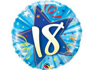 "18"" foliový balónek kruh - modré narozeniny 18"