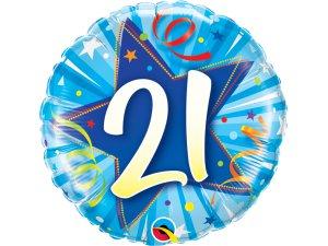 "18"" foliový balónek kruh - modré narozeniny 21"