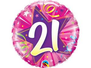 """18"""" foliový balónek kruh - Růžové narozeniny 21"""