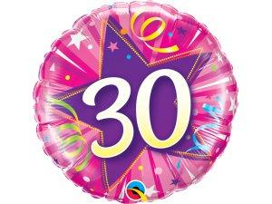 """18"""" foliový balónek kruh - růžové narozeniny 30"""