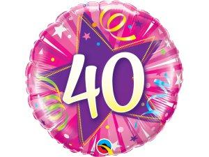 """18"""" foliový balónek kruh - růžové narozeniny 40"""