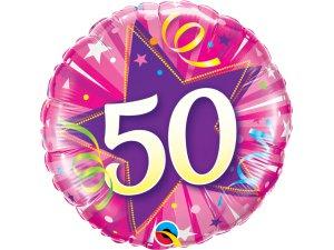 """18"""" foliový balónek kruh - růžové narozeniny 50"""
