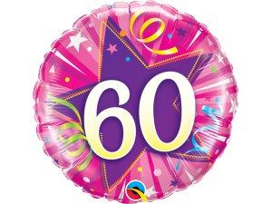 """18"""" foliový balónek kruh - růžové narozeniny 60"""