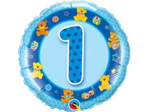 """18"""" foliový balónek kruh - Narozeninoví medvídci 1 - modrý"""