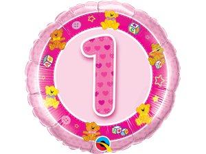 """18"""" foliový balónek kruh - Narozeninoví medvídci 1 - růžový"""
