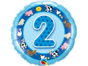 """18"""" foliový balónek kruh - Narozeninová zvířátka 2 - modrý"""