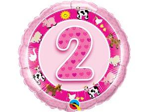"""18"""" foliový balónek kruh - Narozeninová zvířátka 2 - růžový"""