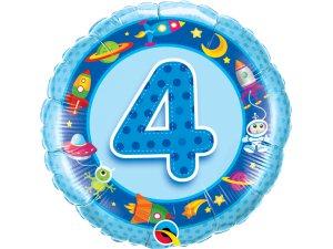 """18"""" foliový balónek kruh - Vesmírné narozeniny 4 - modrý"""