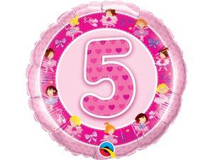 """18"""" foliový balónek kruh - Narozeninové baletky 5 - růžový"""