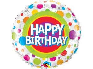 """18"""" fóliový balónek kruh - puntíkové narozeniny"""