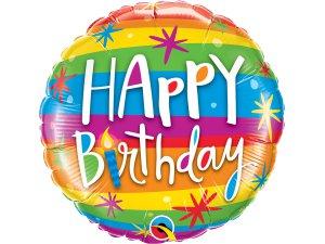 """18"""" foliový balónek kruh - Happy birthday duhový"""