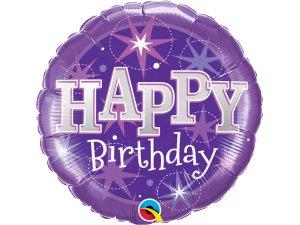 """18"""" foliový balónek kruh - Happy birthday fialový lesk"""