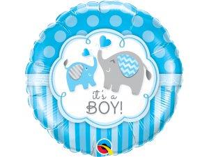 """18"""" foliový balónek kruh - It´s a boy! s potiskem roztomilých slonů"""