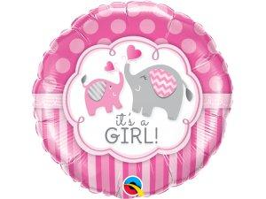 """18"""" foliový balónek kruh - It´s a girl! s potiskem roztomilých slonů"""