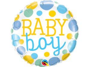 "18"" foliový balónek kruh - Baby boy puntíky"