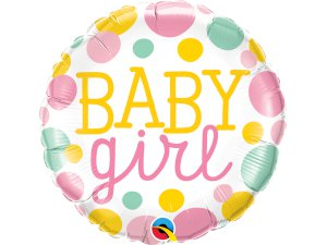 "18"" foliový balónek kruh - Baby girl puntíky"