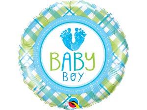 "18"" foliový balónek kruh - Baby boy krůčky"