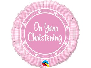 """18"""" foliový balónek kruh - Na tvé křtiny - růžový"""