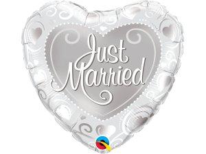 """18"""" fóliový balónek srdce - Novomanželé """"Just married"""""""