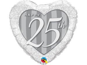 "18"" foliový balónek srdce - Šťastné 25. výročí!"