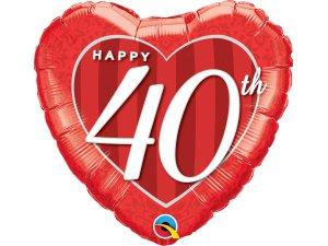 "18"" foliový balónek srdce - Šťastné 40. výročí!"