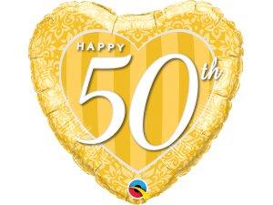 "18"" foliový balónek srdce - Šťastné 50. výročí!"