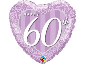 "18"" foliový balónek srdce - Šťastné 60. výročí!"