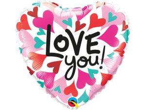 "18"" foliový balónek srdce - Barevná srdíčka ""Love you!"""