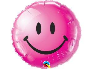 """18"""" foliový balónek kruh - Usměvavý obličej - růžový"""
