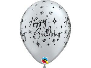 """Balónek Qualatex 11"""" potisk """"Happy birthday"""" Elegant (6ks v balení)"""