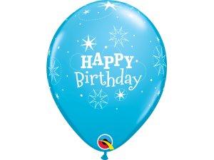 """Balónek Qualatex 11"""" potisk """"Třpytivé narozeniny"""" modrý (6ks v balení)"""