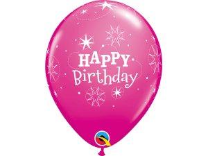"""Balónek Qualatex 11"""" potisk """"Třpytivé narozeniny"""" růžový (6ks v balení)"""