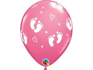 """Balónek Qualatex 11"""" potisk """"Dětské krůčky"""" růžový (6ks v balení)"""