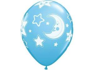 """Balónek Qualatex 11"""" potisk """"Baby měsíc a hvězdy"""" modrý (6ks v balení)"""