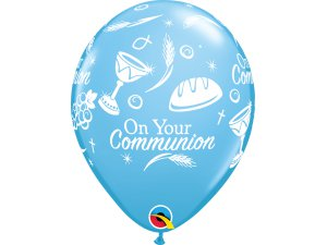 """Balónek Qualatex 11"""" potisk """"Přijímání"""" modrý  (6ks v balení)"""