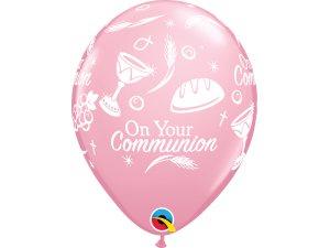 """Balónek Qualatex 11"""" potisk """"Přijímání"""" růžový (6ks v balení)"""