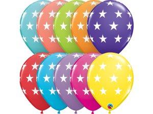 """Balónek Qualatex 11"""" potisk Hvězdy (6ks v balení)"""
