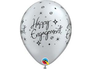 """Balónek Qualatex 11"""" potisk Šťastné zásnuby (6ks v balení)"""
