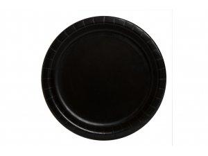 Talířky papírové - černé 18cm, 8ks