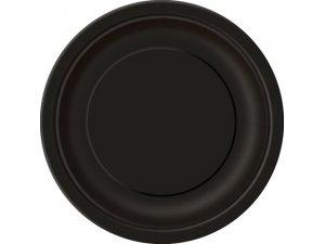Talířky papírové - černé 23cm, 8ks