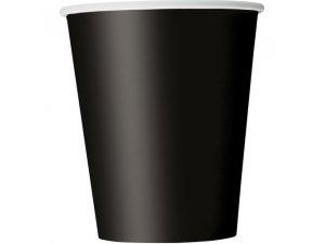 Kelímky papírové - černé, 8ks