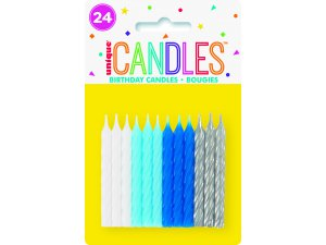 Svíčky dortové - chlapecké spirály, 24ks