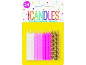 Svíčky dortové - dívčí spirály, 24ct