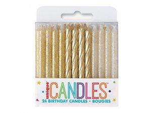 Svíčky dortové - zlaté spirály a třpytky, 24ct