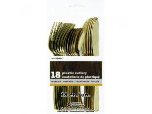 Plastové příbory zlaté, 18ks